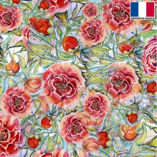 Velours vert motif pivoine rouge - Création Véronique Baccino
