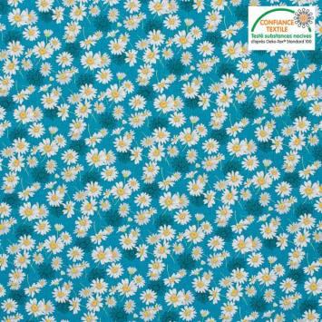 Popeline de coton bleu pétrole motif fleur aster blanche Oeko-tex