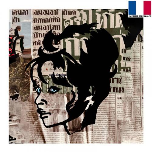 Coupon 45x45 cm - Femme aux yeux bleus - Création Anne-Sophie Dozoul
