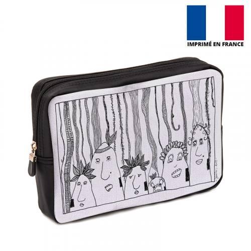 Coupon 30x20 cm - Toile canvas motif Jungle Tribu - Création Jeanne Garreau