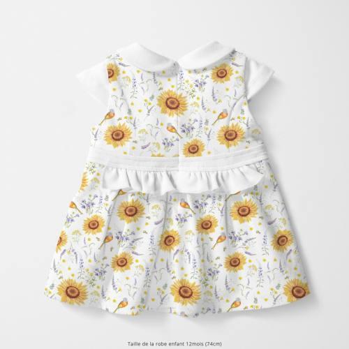 Coton blanc motif tournesol jaune soleil Oeko-tex