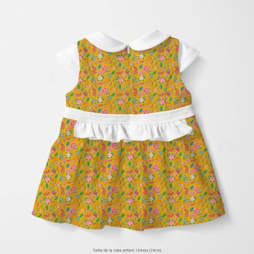 Coton safran motif fleurs et jungle Oeko-tex