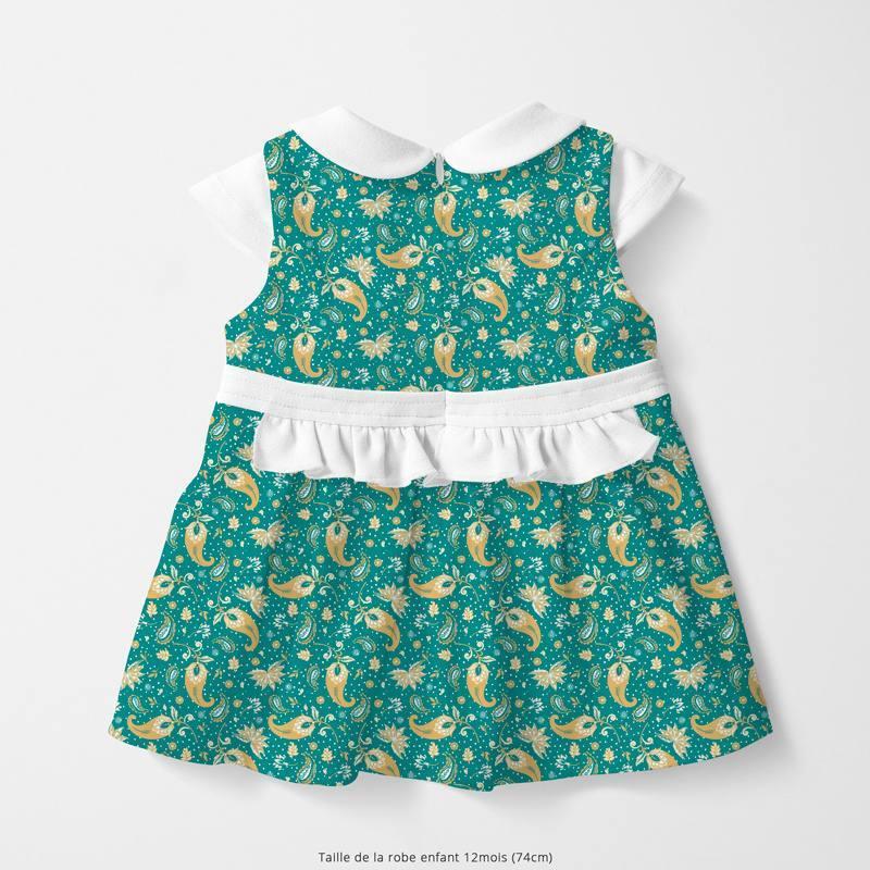 Coton bleu canard motif petit cachemire ocre Oeko-tex