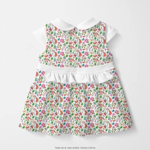 Coton blanc motif fleurs et jungle Oeko-tex