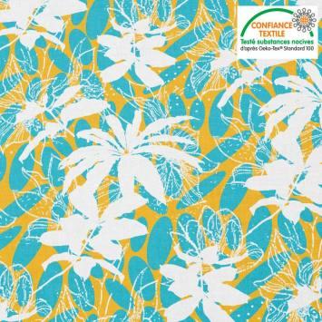 Coton bleu motif wax jaune et fleur blanche Oeko-tex