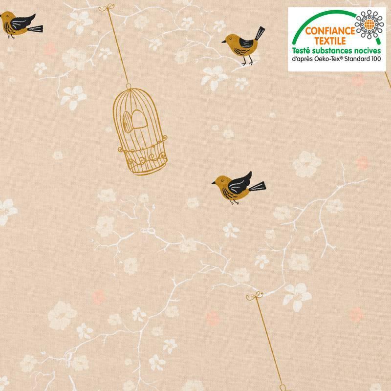 Coton rose pêche motif fleur de cerisier et cage à oiseaux Oeko-tex