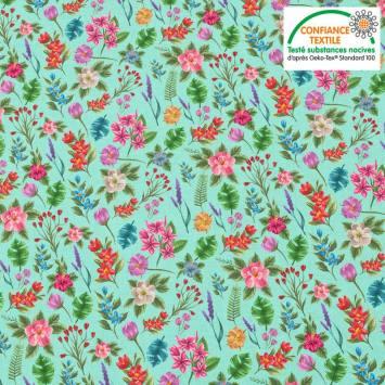 Coton vert pastel motif fleurs et jungle Oeko-tex