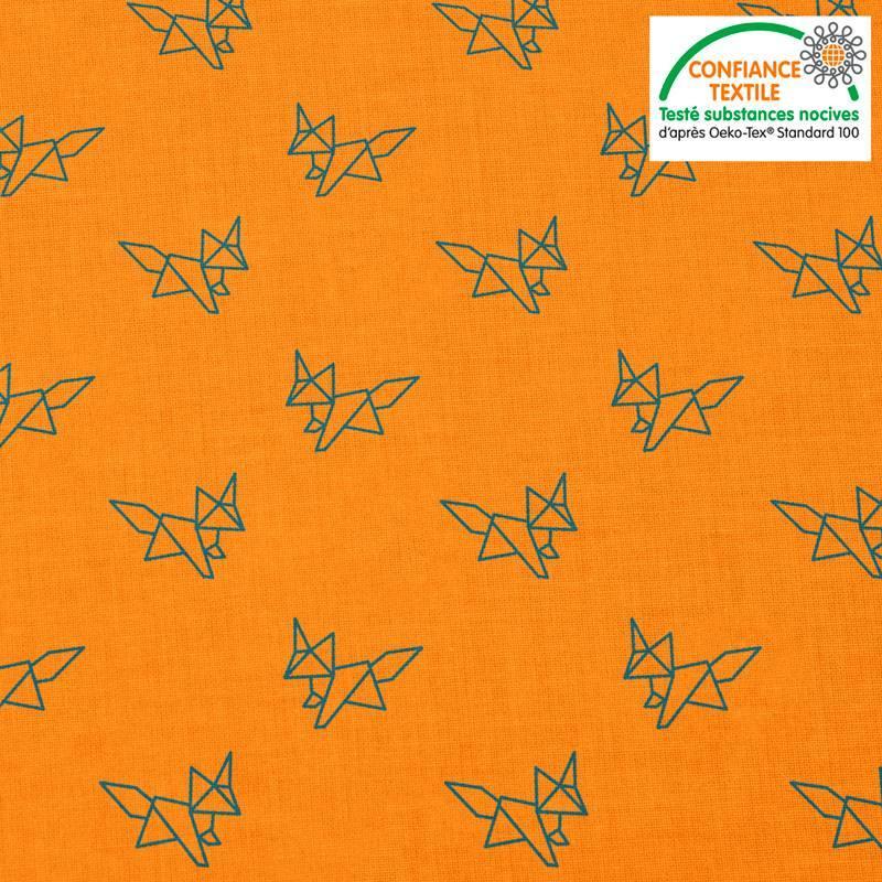 Coton orange motif renard bleu en origami Oeko-tex