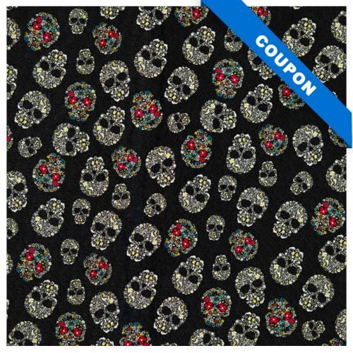 Coupon 50x68 cm - Simili cuir noir imprimé Calavera