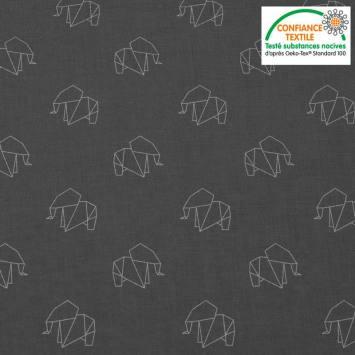 Coton gris foncé motif éléphant gris clair en origami Oeko-tex