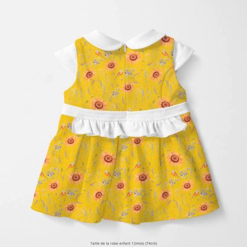 Coton jaune motif tournesol jaune soleil Oeko-tex