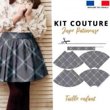 Kit Jupe Patineuse à Coudre - Collection Tartan Enfant - Velours d'habillement