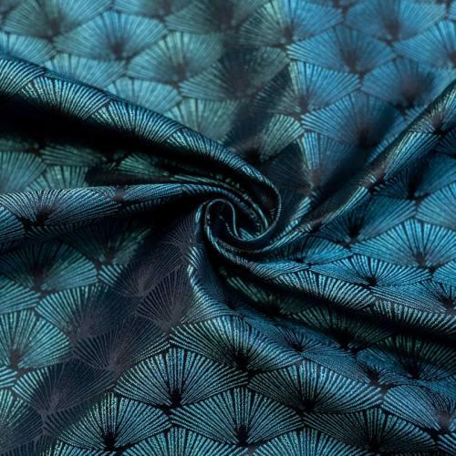Coupon 50x68 cm - Jacquard noir éventail bleu turquoise