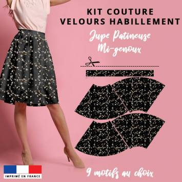 Kit Jupe Patineuse Mi-Genoux - Collection L'intemporelle - Velours d'habillement