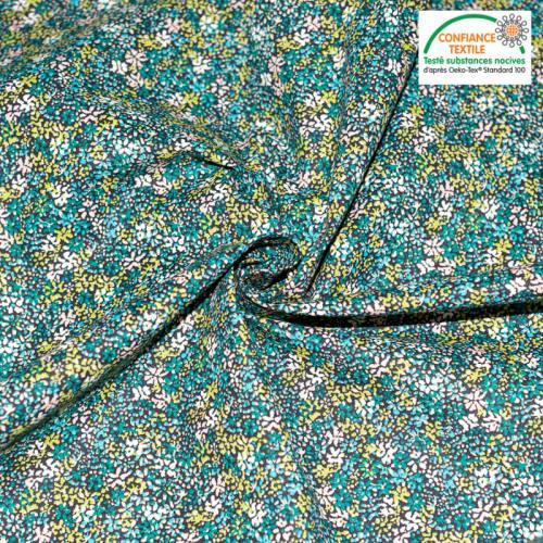 Popeline de coton noire motif fleuri clematite vert d'eau Oeko-tex