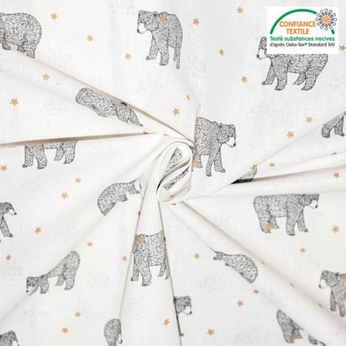 Popeline de coton blanc motif ours baloo Oeko-tex