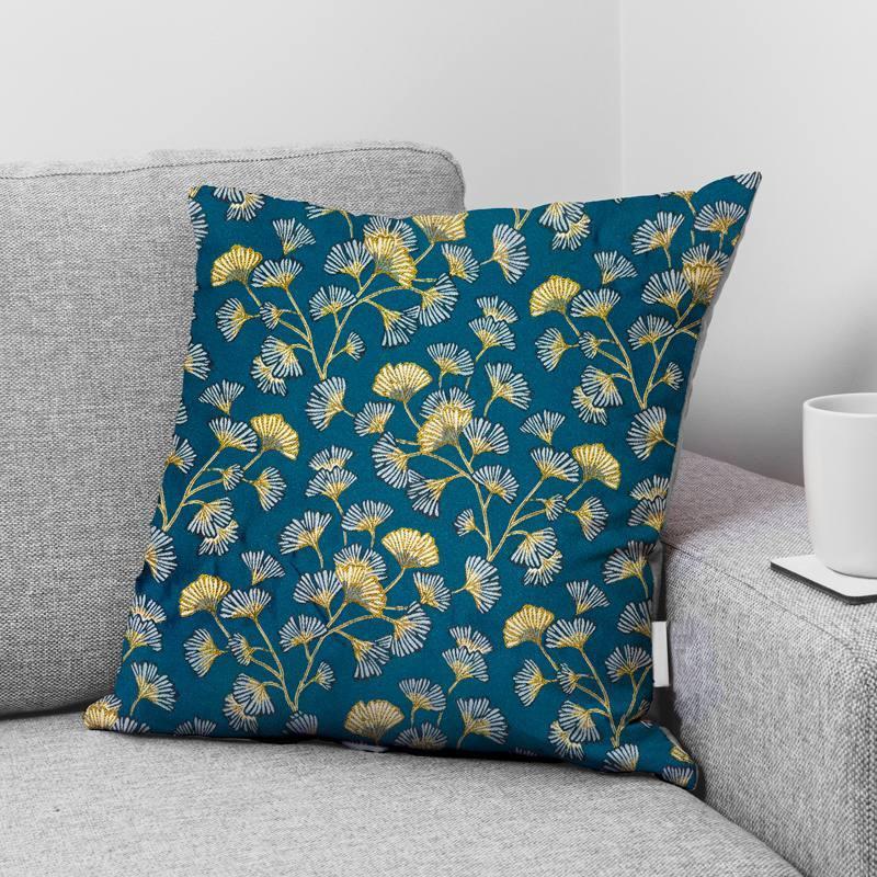 Jacquard bleu motif fleur en éventail ginkgo jaune Oeko-tex