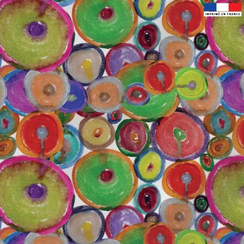Velours écru motif ronds multicolores - Création Jeanne Garreau