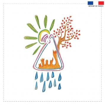 Coupon velours ras motif les 5 éléments - Création Jeanne Garreau