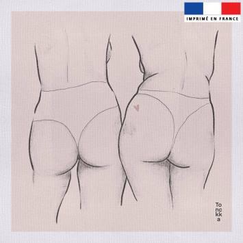 Coupon 45x45 cm toile canvas motif Duo de femmes - Création by Tonckka