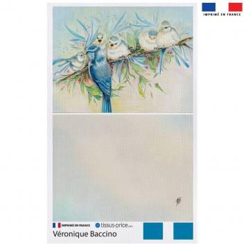 Kit pochette canvas motif oiseaux - Création Véronique Baccino
