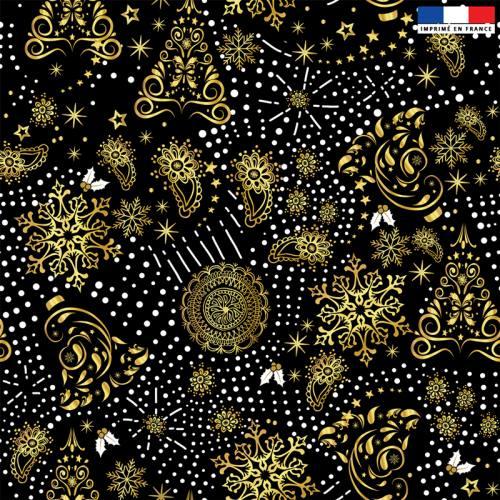 Velours noir motif sapin cachemire gold