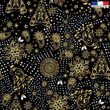 Velours ras noir motif sapin cachemire gold