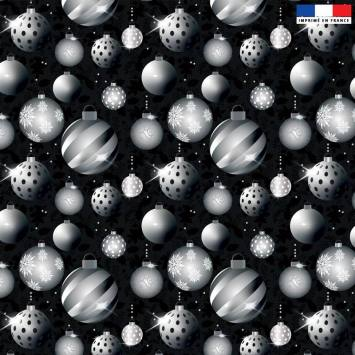 Velours ras noir motif boules de Noel silver