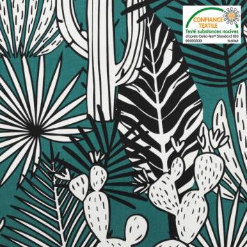 Toile coton bleu canard imprimée feuilles tropicales et cactus mango Oeko-tex