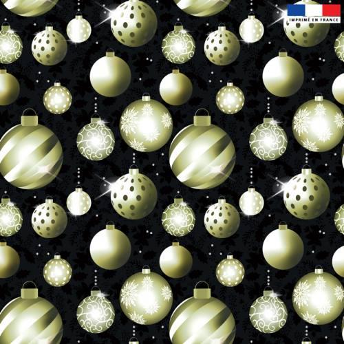 Velours noir motif boules de Noel gold