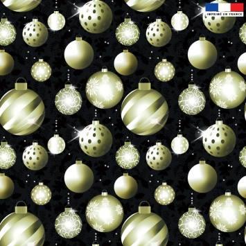 Velours ras noir motif boules de Noel gold