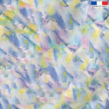 Velours ras motif peinture multicolore - Création Véronique Baccino