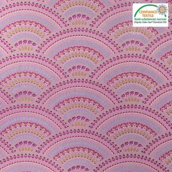 Popeline de coton mauve motif décoration Oeko-tex