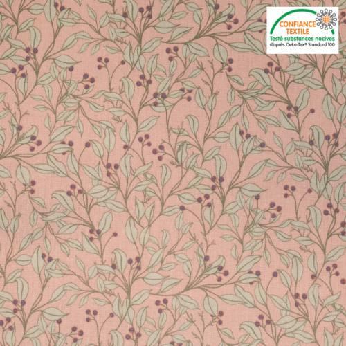 Popeline de coton rose motif feuilles d'olivier Oeko-tex