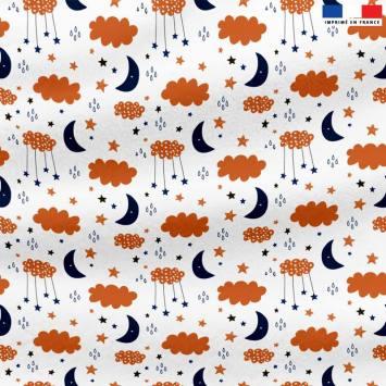Polaire blanche motif nuage étoile et lune