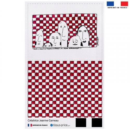 Kit pochette rouge motif tribu fond à carreaux - Création Jeanne Garreau