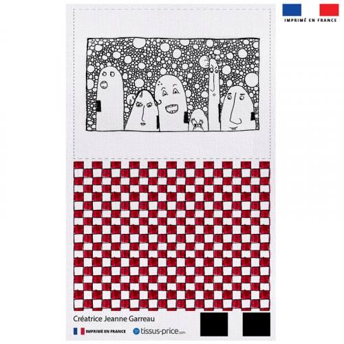 Kit pochette blanc motif carreaux rouge et blancs - Création Jeanne Garreau