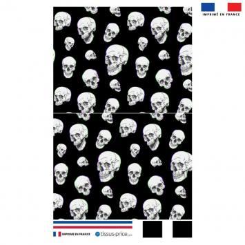Kit pochette noire motif tête de mort effet 3D