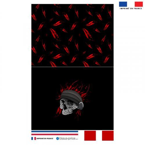Kit pochette noire motif crâne avec plumes