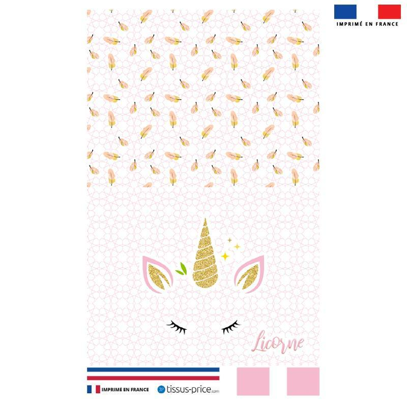 Kit pochette rose motif licorne gold