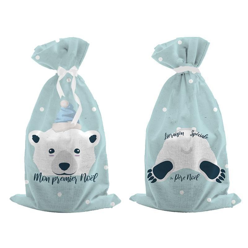 Kit hotte de Noel bleu givré motif ours polaire