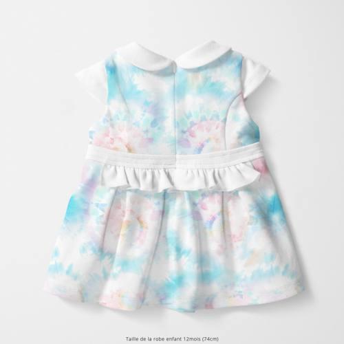Coton écru motif tie and dye fluide bleu et rose Oeko-tex