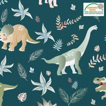 Coton vert pin motif dinosaure et feuilles Oeko-tex