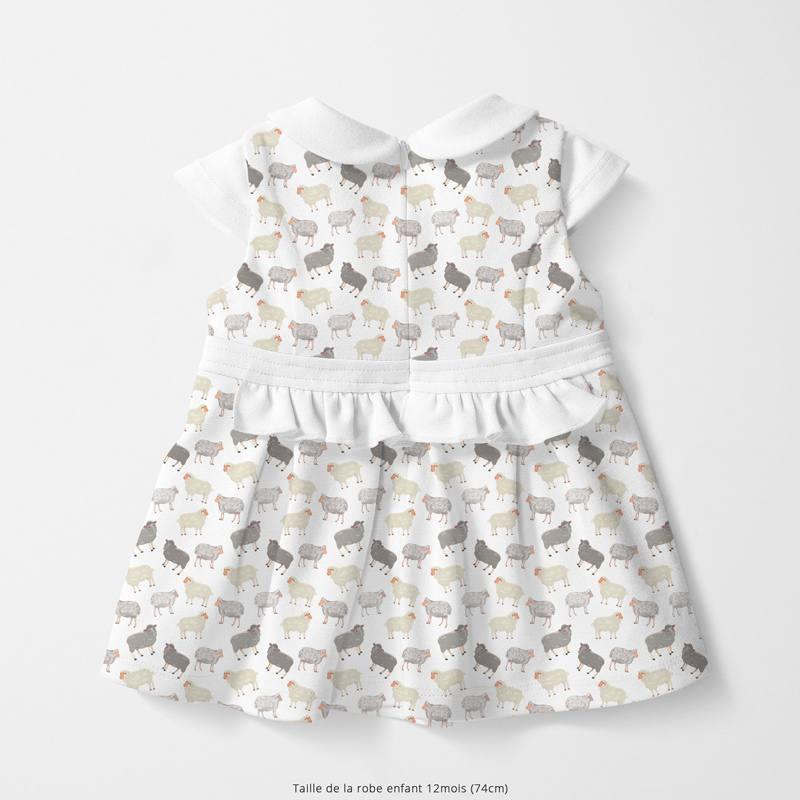 Coton blanc motif moutons Oeko-tex