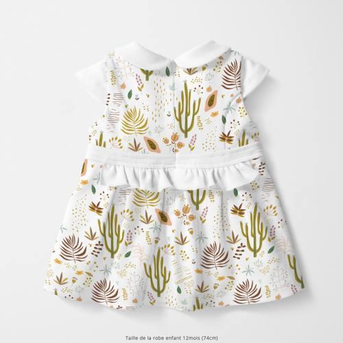 Coton blanc motif cactus et fruit de la passion Oeko-tex