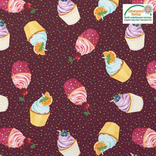 Coton marron motif cupcake et vermicelle en sucre Oeko-tex
