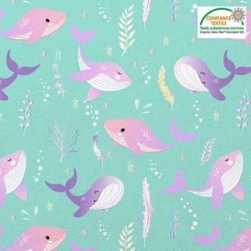 Coton vert d'eau motif baleine rose et violet Oeko-tex