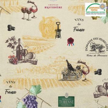 Coton beige motif Vins de France Oeko-tex