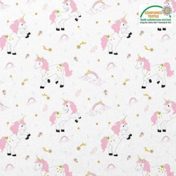 Coton blanc motif licorne et arc-en-ciel Oeko-tex