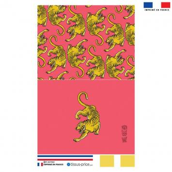 Kit pochette rose motif tigre ocre - Création Lou Picault